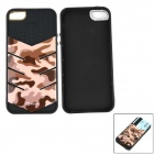 Protective PC Back Case w/ Card Slot for IPHONE 5 / 5S - Black + Desert Camouflage