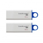 Kingston Digital 16GB DataTraveler G4 USB 3.0 Drives Blue DTIG4/16GB (2PCS)