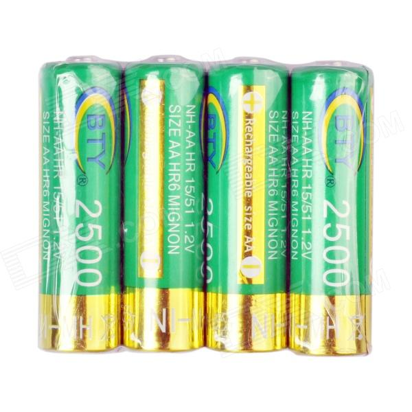 BTY 2450mAh AA 1.2V Rechargeable Batteries Set - Green + Golden (4 PCS) bty rechargeable 1 2v 3100mah aa battery black red 4 pcs