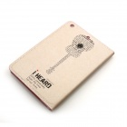 Guitar Pattern Protective PU Leather Case Cover Stand w/ Auto Sleep for IPAD AIR - Beige + Black