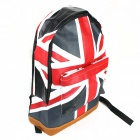 UK Flag Pattern Fashion Canvas Backpack - Blue + Red