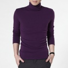 FENL 111-5 Men's High Collar Slim Long-sleeved Tees - Purple (Size XXL)