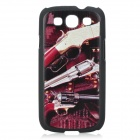 cqda Cool Gun Pattern Protective ABS Back Case for Samsung i9300 - Black + Multicolor