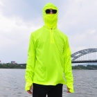 GUZON Sun-proof Quick-Dry Dacron Long-sleeved Hooded Fishing Jacket - Fluorescent Green (L)