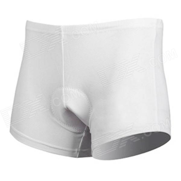 CHEJI Men's Bicycle Cycling Breathable Mesh Fabric Padded Underpants - White (XL)