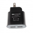 MXT AC Power Charger Adapter w/ Dual USB for IPHONE / IPAD / IPOD - Black (US Plugs / AC 100~240V)