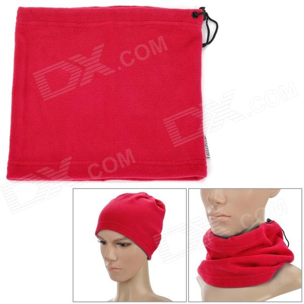 Women's Outdoor Polar Fleece Neckerchief Head Guard Veil Shield - Red