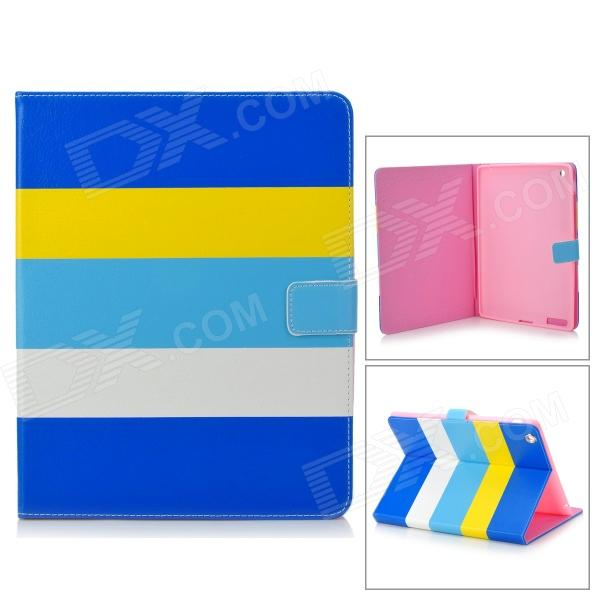все цены на Stylish Protective PU Leather + Silicone Case Cover Stand for IPAD 2 / 3 / 4 - Yellow + White + Blue онлайн