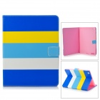 Stylish Protective PU Leather + Silicone Case Cover Stand for IPAD 2 / 3 / 4 - Yellow + White + Blue