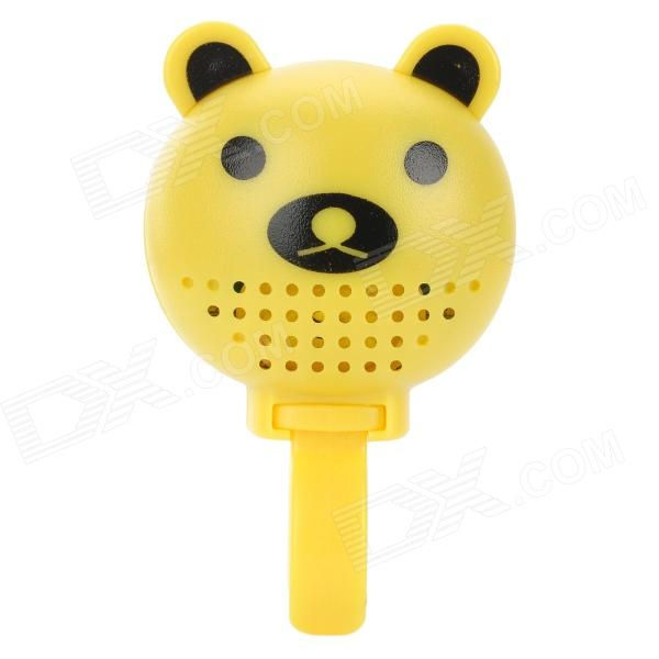 DX-888B Cute Bear Style Plastic Bike Bell w/ Rearview Mirror - Yellow