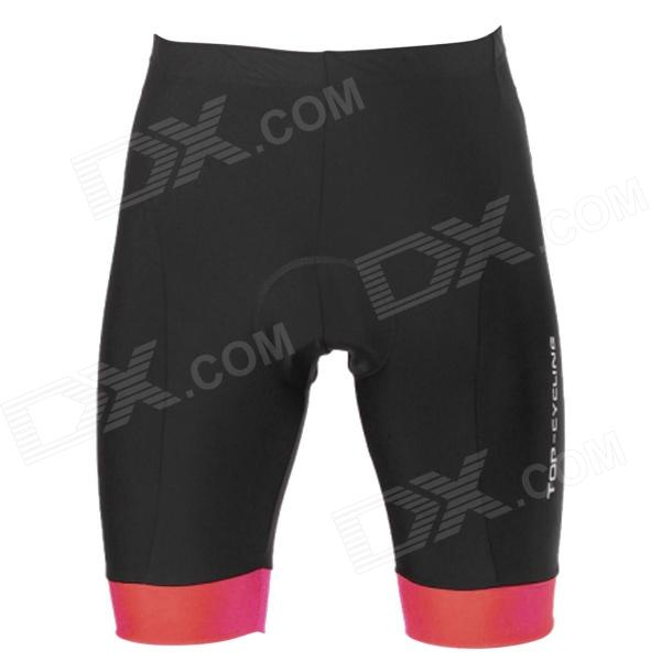 TOP CYCLING Outdoor Sports Cycling Padded Short Pants - Black + Red (Size M)