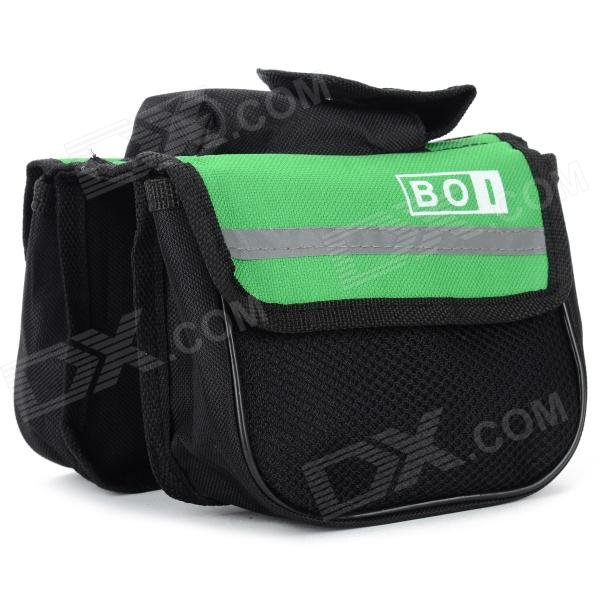 BOI 12850 Universal Polyester Outdoor Cycling Bike Top Tube Double Bag - Black + Green roswheel outdoor cycling bike top tube triangle bag green