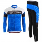 TOP CYCLING SAE126 / SAK359 Cycling Long-sleeved Polyester Jersey + Pants - Blue + Black (M)