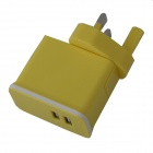 Detachable Universal Compact Dual USB AC Power Charger Adapter - Yellow (100~240V / UK Plug)