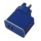 Detachable Universal Compact Dual USB AC Power Charger Adapter - Blue (100~240V / UK Plug)
