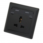 AC Power Socket + Dual-USB Socket Wall Panel- Black