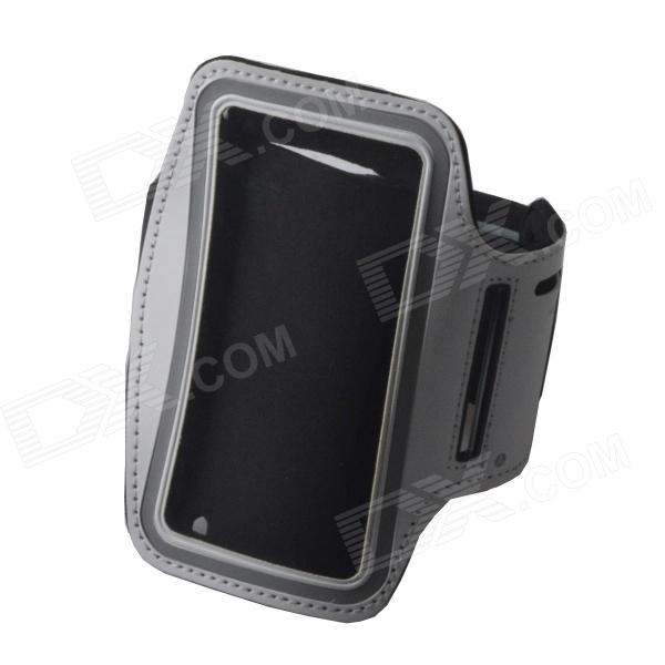 Convenient Outdoor Sports Armband w/ Transparent Window for IPHONE 4 / 4S - White + Black