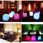 Water Resistant LED RGB Square Chair w/ Remote Controller - White