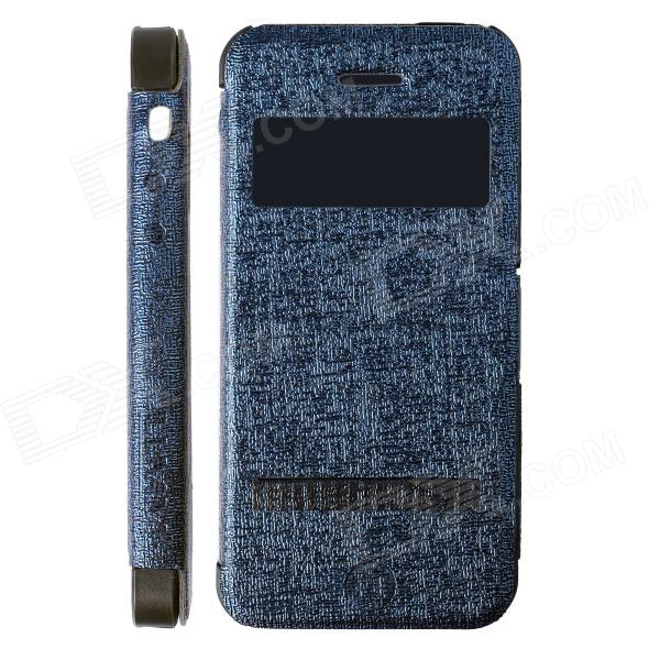 LLMM HW01 Creative Multifunction PU Leather + TPU Case Cover Stand for IPHONE 5 / 5S - Deep Blue