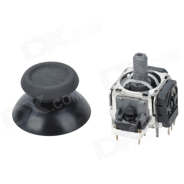 DIY Replacement 3D Joystick + Cap for PS4 - Black