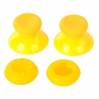 Replacement Plastic 3D Joystick Cap w/ Anti-slip Silicone Cover for XBOX ONE - Yellow (2 Pairs)