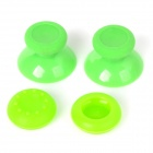 Replacement Plastic 3D Joystick Cap w/ Anti-slip Silicone Cover for XBOX ONE - Green (2 Pairs)