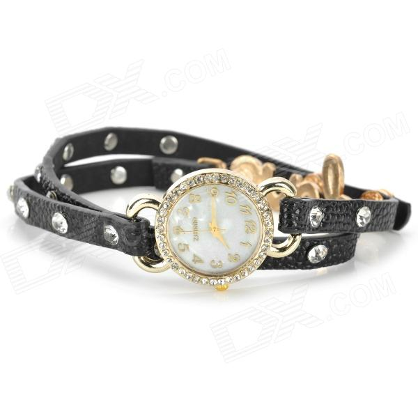 Fashion Split Leather Band Quartz Analog Bracelet Wrist Watch for Women - Black (1 x 377)