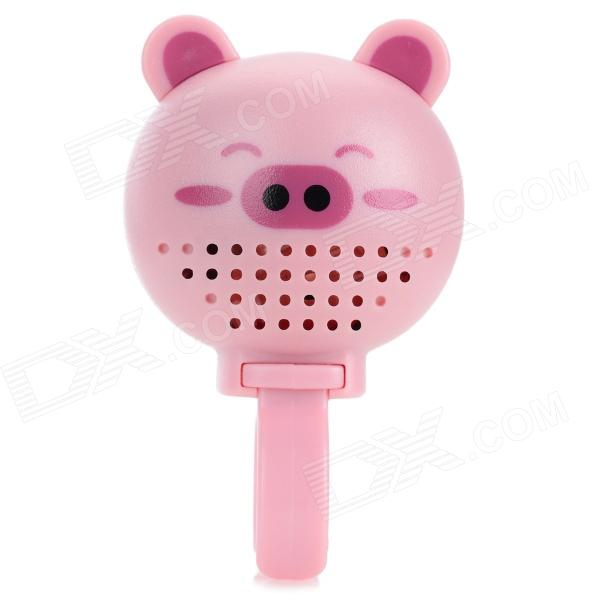 DX-888B Cute Pig Style Plastic Bike Bell w/ Rear Mirror - Pink (3 x LR44)