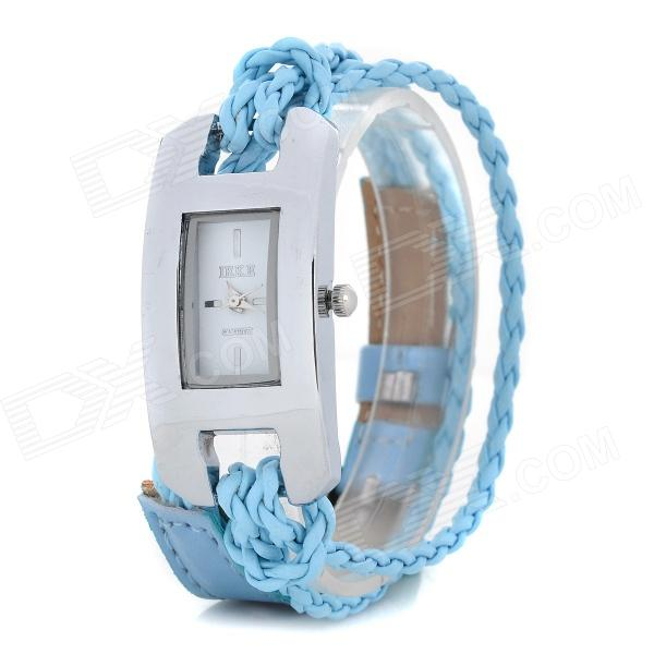 Fashionable Women's Split Leather Band Quartz Analog Bracelet Wrist Watch - Blue + Silver (1 x 377) stylish bracelet band quartz wrist watch golden silver 1 x 377