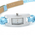 Fashionable Women's Split Leather Band Quartz Analog Bracelet Wrist Watch - Blue + Silver (1 x 377)