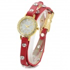 Retro Aluminum Alloy Case PU Leather Band Quartz Analog Wrist Watch for Women - Red + Golden