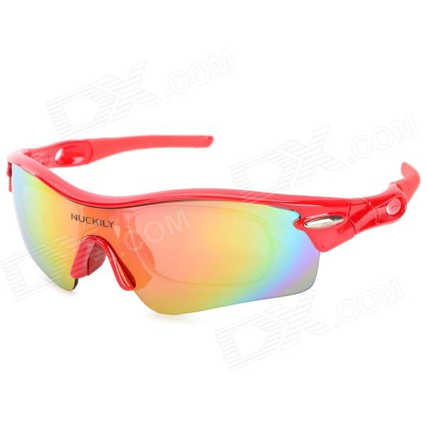 NUCKILY PA01 UV400 Protection Outdoor Cycling Polarized Sunglasses Goggles - Yellow + Red topeak outdoor sports cycling photochromic sun glasses bicycle sunglasses mtb nxt lenses glasses eyewear goggles 3 colors