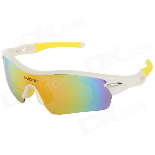 NUCKILY PA01 UV400 Protection Outdoor Cycling Polarized Sunglasses Goggles - White + Yellow солнце rmk uv ex spf43 pa 8g 15 10