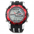 Quamer Q-2 Sports Rubber Band Quartz Analog + Digital Wrist Watch - Black + Red (1 x CR2025)
