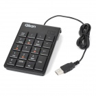 Qisan N100 Portable USB 2.0 Wired 19-Key Keyboard for Dell / HP / Acer / Lenovo - Black