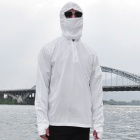 GUZON Sun-proof Quick-Dry Breathable Dacron Long-sleeved Hooded Fishing Jacket - White (L)