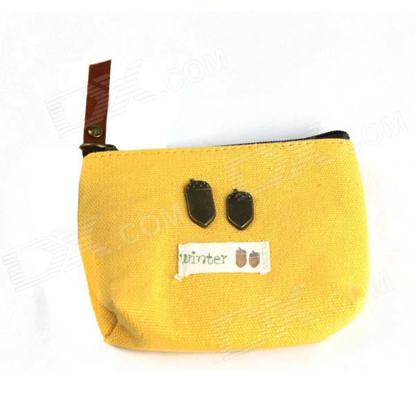 Lovely Cloth Zipper Handbag Wallet - Yellow + Brass