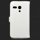 High Quality Stylish Flip Open Split Leather Case w/ Card Slots / Stand for Motorola MOTO G - White