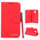 Stylish Flip Open PU Case w/ Stand / Card Slots for Samsung Galaxy S5 - Red