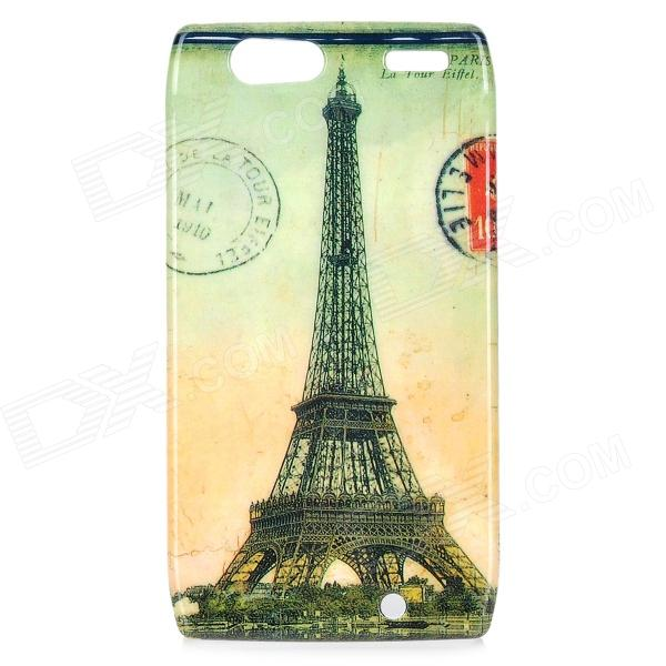 Retro Eiffel Tower Pattern ABS Back Case for Motorola RAZR XT910 - Yellow + Grey motorola razr