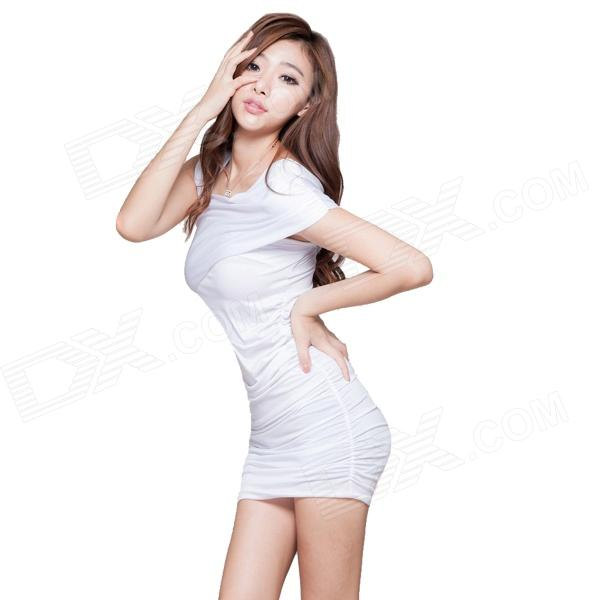 C69 Hip Sexy Cotton Strapless Dress - White