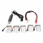 HA BO SEN H107C-002 5 x 3.7V 240mAh Batteries + Charging Cable + USB Cable for R/C Helicopter
