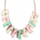 Zinc Alloy Geometric Simplicity Necklace - White + Golden