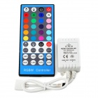 RGBW-40 DC 12V~24V 40-key IR Remote Controller + Receiver for LED Strip - Blue + Grey