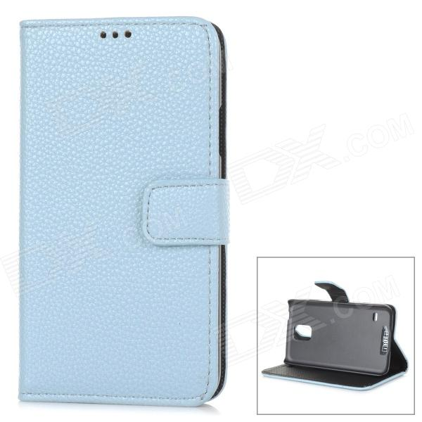 IKKI Classic Flip-open Split Leather Case w/ Holder + Card Slot for Samsung Galaxy S5 - Light Blue brushed case phone holder with card slot for google pixel blue