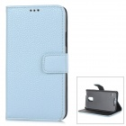 IKKI Classic Flip-open Split Leather Case w/ Holder + Card Slot for Samsung Galaxy S5 - Light Blue