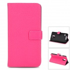 IKKI Classic Flip-open Split Leather Case w/ Holder + Card Slot for Samsung Galaxy S5 - Deep Pink