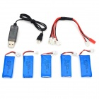 HA BO SEN H107C-005 5 x 3.7V 500mAh Batteries + Charging Cable + USB Cable for R/C Helicopter