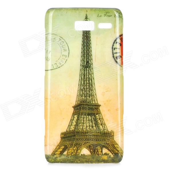 Retro Eiffel Tower Pattern ABS Back Case for Motorola RAZR i / XT890 - Yellow + Grey motorola razr