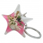 Starfish Style Crab Shell Acrylic Stainless Steel Keychain - White + Pink + Multi-color